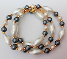 "20"" Glass Pearl Necklace with Golden Magnetic Clasp AP1069"