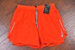 "NWT Nike Flex Stride 5"" 2 in 1 Running Shorts Orange Men's Large L"