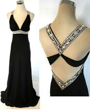 NWT FAVIANA $318 Black Women Formal Evening Prom Gown 0