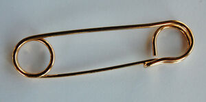 VINTAGE METAL KILT PIN HUGE SAFETY PIN PLATED BRASS 4 inches