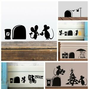 Cartoon Mice Pattern Mousehole Wall Stickers Stairs Mural DIY Skirting Decals