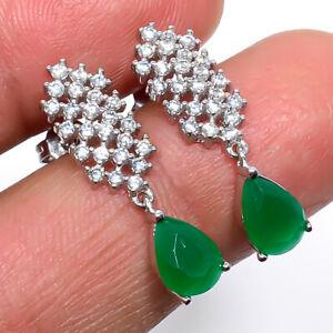 """Sakota Mines Emerald & White Topaz 925 Sterling Silver Earring 1.01"""" M1561"""