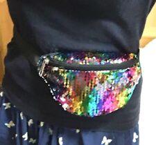 Small Rainbow Sequin BUM BAG Fanny Pack Travel Waist Money Belt Wallet Pouch UK