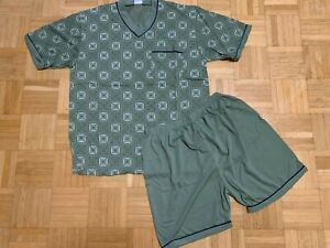 TOP Herren Schlafanzug Shorty Pyjama Gr. L bis 3XL dunkelgrün Kariert NEU