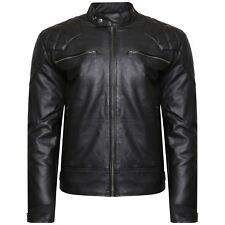 Mens  Black  Real Leather Jacket Biker Vintage Top grained