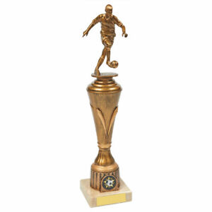 ANTIQUE GOLD RESIN FOOTBALL TROPHY - 33cm FREE ENGRAVING