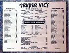EARLY TRADER VIC'S COCKTAIL RESTAURANT  MENU 8.5X11 GLOSSY REPRINT VINTAGE