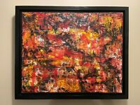 Red Black & Yellow Abstract original modern acrylic canvas painting   ships free