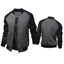Mens Plain Varsity Baseball Jackets College Leather Sweatshirt Top Winter Coats