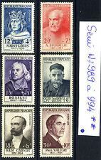 N° 989 a 994 Célébrités du XIII au XXeme Siécle Timbres Neufs **