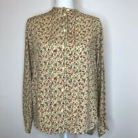 VINTAGE Putumayo Women's Top Floral Loose Fit Button Up Long Sleeve Small
