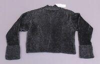 Topshop Women's Turnback Ribbed Jumper Sweater MC7 Black Size US:4-6 UK:S NWT
