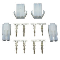 5x(Connector Adapter Plug Socket 2 Male 2 Female Battery Charger White BT