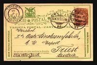 Mexico 1898 Postal Card to Trieste / Small Crnr Crease - Z16884