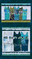 Feline Frolic Laurel Burch AQUA Teal LARGE Cats Pillow PANEL Fabric 23 x 44 inch