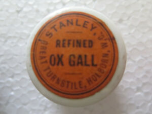 OINTMENT POT STANLEY REFINED OX GALL GREAT TURNSTILE HOLBORN ENGLAND EXCELLENT