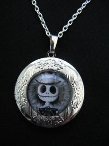 Jack Skellington LOCKET Necklace Pendant Gothic  Silver Vintage Halloween Horror