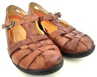 Clarks Unstructured Women Size 10 M Brown Slip-On T-Strap Closed Toe Sandals