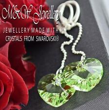 925 Sterling Silver Long Earrings Crystals from Swarovski® HEART 18mm - Peridot