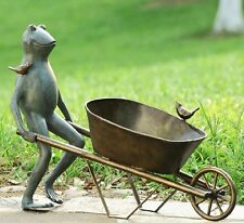 """Frog Bird Friends Wheelbarrow Planter Flower Garden Pot Metal Plant Holder 19""""H"""