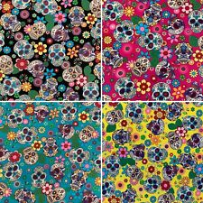 100% Cotton Poplin Fabric Rose & Hubble Sugar Skulls Day Of The Dead Material