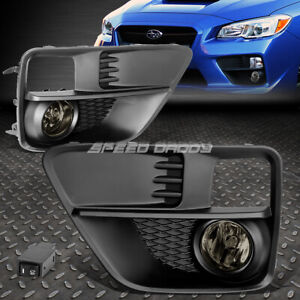 FOR 15-17 SUBARU WRX STI SMOKE LENS BUMPER DRIVING FOG LIGHT LAMP W/BEZEL+SWITCH