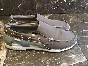 Mens Crocs Size 13 Boat Shoes, Brown, Gray, Beige EUC