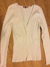 """Belldini"" Ivory Ribbed V-Neck Cardigan Sweater Viscose/Nylon/Spandex Sz M"