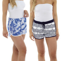 Womens Ladies Cotton Rich Beach Summer Shorts Floral Holiday UK Size 8-22