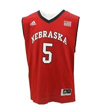 adidas No. 5 Nebraska Cornhuskers Youth Red 2015 March Madness Jersey XL