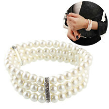 Stylish Women Charm Multilayer Pearl Crystal Bangle Bracelet Wristband Bridal