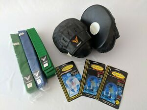 MA/Karate Lot ProForce Focus Mitts(pre-owned), Belts (new), Mouth guards(new)