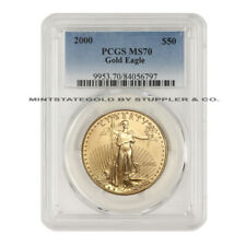 RARE $50 Eagle 2000 PCGS MS70 American 22 KT Gold Bullion Coin Low Pop of 50