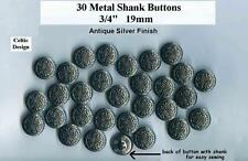 """30 Celtic Metal Buttons 3/4"""" Silver Finish Shank 19mm Costumes Theater Wholesale"""