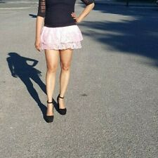 Pink Lace Mini Skirt Micro Women's Ladies Girls High Waist Party Club &Partywear