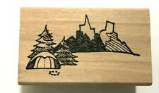 NEW  MOUNTAINS CAMPING PUP TENT WOOD MOUNT RUBBER STAMP ~ SMALL
