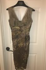 Mandalay Formal Cocktail MIDI Dress in Olive Green/Gold Satin/Lace Beaded SZ 10