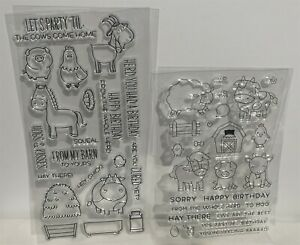 FARM ANIMALS Barn Pig Cow Chickens Horse Goat Barn Yard Rubber Stamps Lot of 2