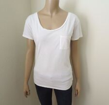 American Eagle Womens Off-White Crewneck Pocket T-Shirt Size XS/S Top Shirt