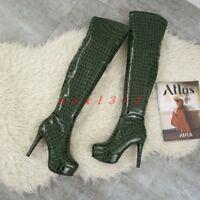 Women Round Toe High Stiletto Heel Platform Over Knee Boot Shoe Leather Zip New