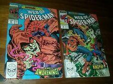 Web of spiderman 47 & 48 1st print signed alex saviuk amazing hobgoblin story