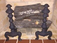 Vtg Antique Set Black Cast Iron Andirons Fireplace Fire Dogs Log Holder Medieval