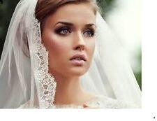 "Light Ivory 1 Tier Veil 40"" 1.5"" Eyelash Fringe Lace Fingertip Comb Wedding 13F"
