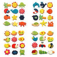 12Pcs Set Baby Kids Wooden Cartoon Animal Fridge Magnet Educational Kids Toy