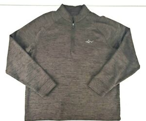 Greg Norman Mens 1/4 Zip Long Sleeve Heathered Brown Golf Pullover Size Large