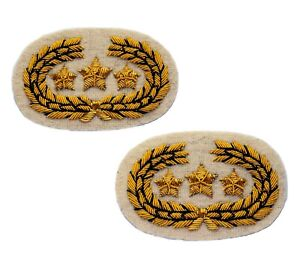 Confederate Officers Collar Insignias in Pair, Wire Bullion embroidered, New