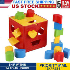 Baby's Brain Brightly Coloured Shape Block Sorter Box for Toddler & Kids Toy Set