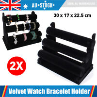 2pcs 3-Tier Velvet Jewelry Display Holder Bracelet Bangle Watch Stand Showcase