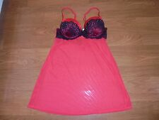 Gilligan & O'Malley red and black sexy nightie teddie with bra cups size S