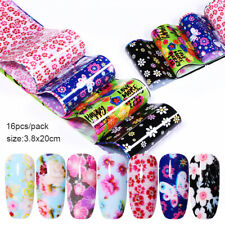 16 PCS Flower Theme Nail Foil Stickers Transfer Decals Paper Nail Tips DIY